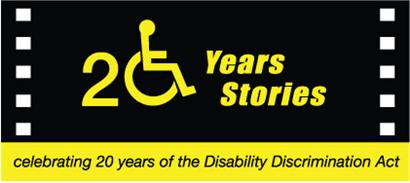 20 Years 20 Stories logo, celebrating 20 years of the Disability Discrimination Act