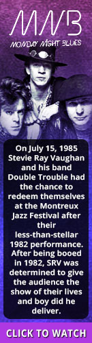 Tribut's Monday Night Blues. On July 15, 1985 Stevie Ray Vaughan and his band Double Trouble had the chance to redeem themselves at the Montreux Jazz Festival after their less-than-stellar 1982 performance. After being booed in 1982, SRV was determined to give the audience the show of their lives and boy did he deliver. Click to watch.