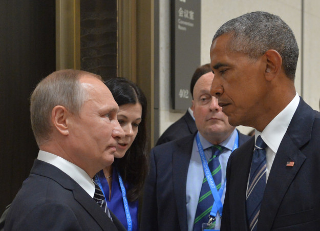 Obama death stare. Slight Putin smirk. Boy do they hate each other.