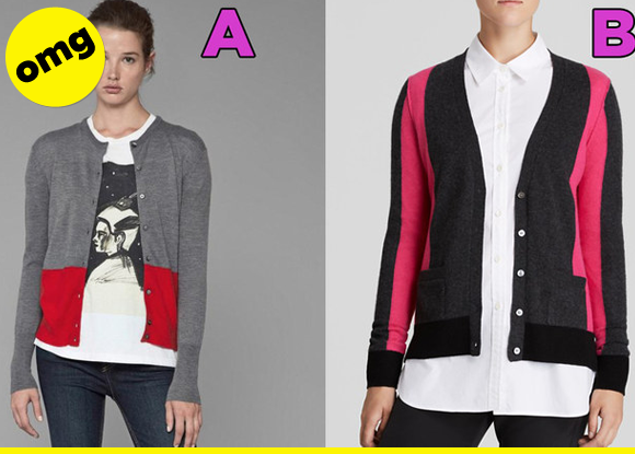 Which cardigan is which?