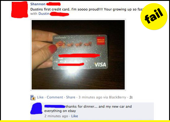 Don't post your credit card on Facebook.