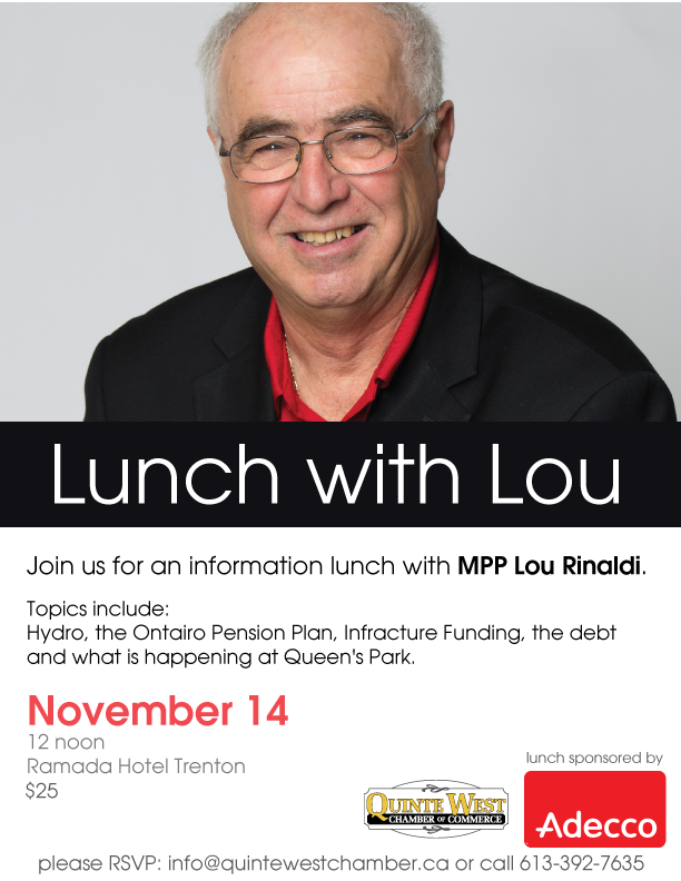 Lunch with Lou on November 14 at Ramada Hotel